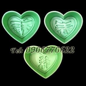 Bộ 3 khuôn ép xôi hình tim Phúc Lộc Thọ - Mã số 65