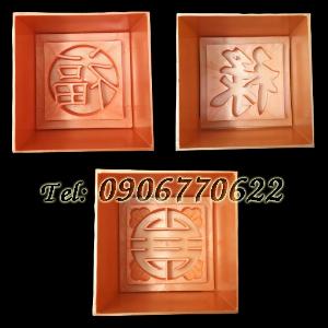 Bộ 3 khuôn ép xôi hình vuông Phúc Lộc Thọ - Mã số 68