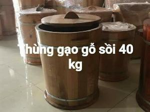 Thùng đựng gạo gỗ Sồi 40 kg.
