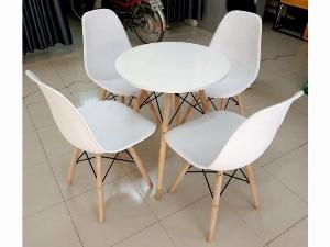 Bàn ghế nhựa chân gỗ giá rẻ