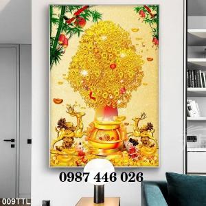 Tranh gạch men cây tiền vàng 3d HP0392