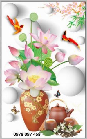 Tranh gạch bình hoa 3D