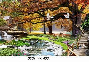 Tranh phong cảnh mùa thu-gạch tranh 3D