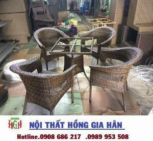 Bàn ghế cafe mây nhựa cao cấp giá rẻ HGH .4