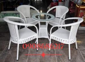 Bộ bàn ghế cafe mây nhựa