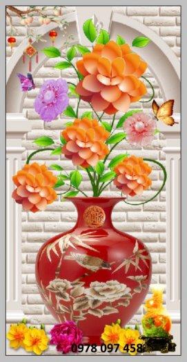 Tranh bình hoa sắc màu - tranh gạch
