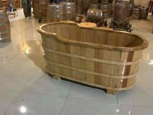 Bồn Tắm Gỗ Sồi Kiểu O Van Bo Viền