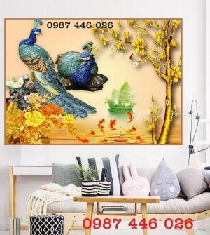 Tranh chim công, gạch ốp tường, tranh gạch 3d HP622