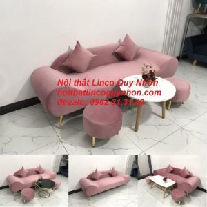 Bộ ghế salon sofa văng băng thuyền màu hồng hường