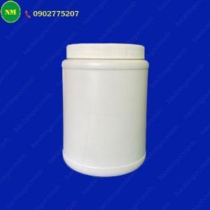 Hình hộp nắp vặn đựng bột, hủ nhựa hdpe 500gr - hủ nhựa 1kg đựng tinh bột nghệ, bột gạo, hủ nhựa đựng dung môi.