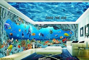 Tranh bãi biển-gạch tranh 3D