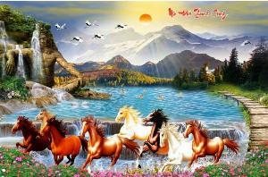 Tranh ngựa, gạch tranh bát mã, tranh ốp tường, gạch trang trí HP2887
