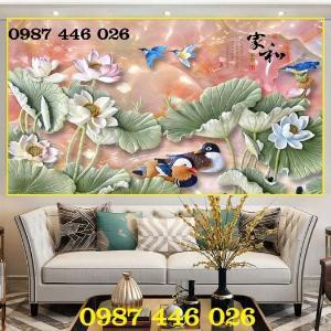 Tranh hoa sen, gạch ốp tường, tranh trang trí Hp60202