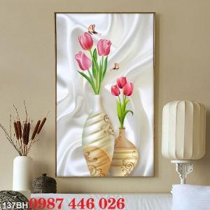 Gạch tranh 3d, tranh ốp tường bình hoa Hp6022