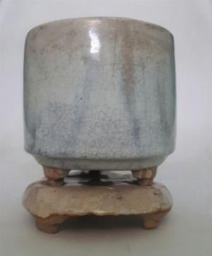 Bát nhang bạch định gốm Lái Thiêu xưa trọn bộ cao 13cm, đk 10.5cm