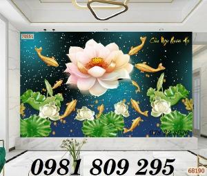 Tranh trang trí - gạch 3d hoa sen cá chép