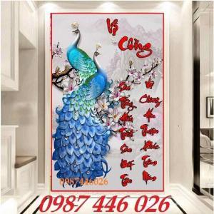 Tranh chim công khổ đứng- Gạch tranh 3d HP76220