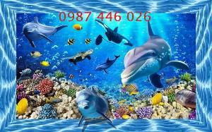 Tranh cá heo ốp tường, gach tranh trang trí HP2125