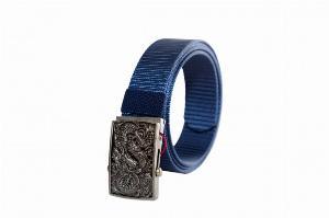 Dây nịt vải dù màu xanh cô ban - mặt rồng bạc - SH156