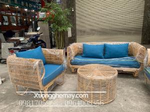 Sofa song mây tự nhiên, bàn ghế mây tre cho phòng khách