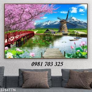 Gạch tranh, tranh 3D phong cảnh phòng khách