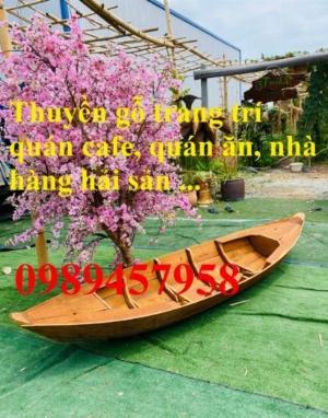 Thuyền gỗ trang trí, Thuyền gỗ trưng bày hải sản 3m, Xuồng gỗ 3m5