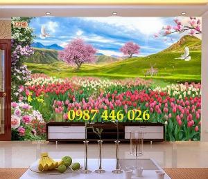 Tranh vườn hoa, gạch tranh ốp tường HP4763