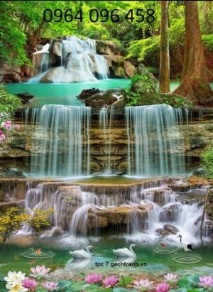 Tranh thiên nhiên thác nước - tranh gạch 3d - HK76