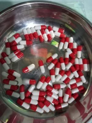 Vỏ nang rỗng màu đỏ trắng size 0, vỏ nang cứng gelatin