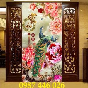 Tranh gạch chim công, tranh 3d, gạch ốp tường HP34859