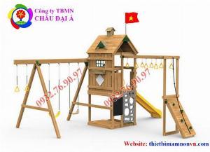 Cầu trượt liên hoàn thể chất bằng gỗ cho trẻ em mầm non.