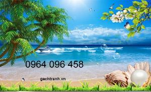 Tranh gạch 3d - gạch tranh 3d bờ biển cây dừa