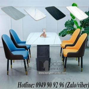 Bộ bàn ghế ăn chữ nhật mặt đá phiến 1m4 dành cho 4 ghế hiện đại