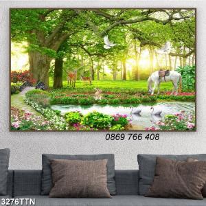Tranh 3D vườn hoa ốp tường