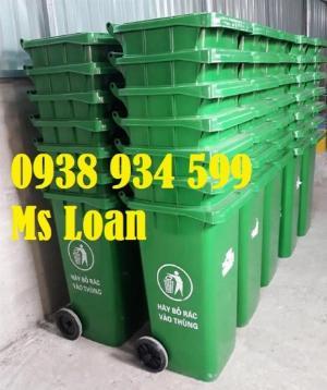 Thùng rác nhựa 240 lít màu xanh,thùng rác công cộng 240 lít,thùng rác y tế 240l
