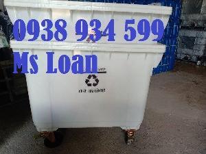Xe đẩy rác 660 lít, xe thu gom rác 660 lít, thùng rác y tế 660l