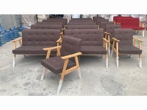 Sofa gỗ nệm vải AGB cao cấp Sofa nhấn nu