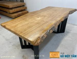 Bàn làm việc cạnh tự nhiên, bàn ăn cạnh tự nhiên nguyên tấm dài 1,7m x ( 85-90 )x 5cm