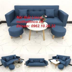 Bộ ghế sofa giường bed (băng) màu xanh dương da trời rẻ đẹp ở Nội thất Linco HCM Sài Gòn