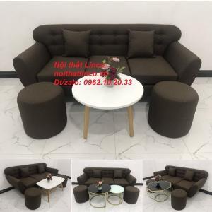 Bộ bàn ghế salon băng văng nâu cafe đen giá rẻ đẹp Nội thất Linco Sài Gòn HCM