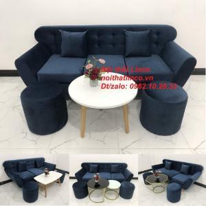 Bộ ghế sofa băng vải nhung xanh dương đen đậm giá rẻ đẹp Sopha văng Linco Tphcm HCM
