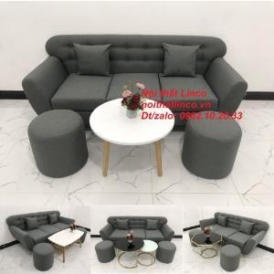 Bộ ghế sofa băng xám lông chuột đậm đen đẹp giá rẻ Salon văng dài 1m9 Linco HCM Tphcm