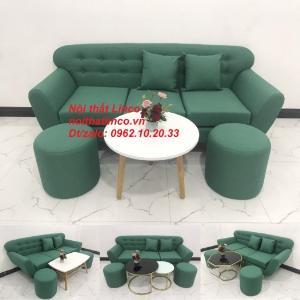 Bộ bàn ghế sofa băng xanh ngọc lá cây giá rẻ đẹp nhỏ Nội thất Linco Sài Gòn SG