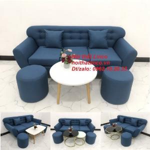Bộ bàn ghế sòa băng văng giá rẻ đẹp nhỏ gọn xanh dương nội thất Linco Sài Gòn