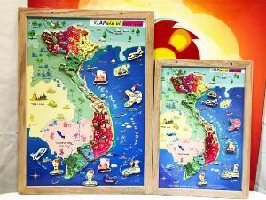 Tranh ghép bản đồ Việt Nam có nam châm A3 bằng gỗ