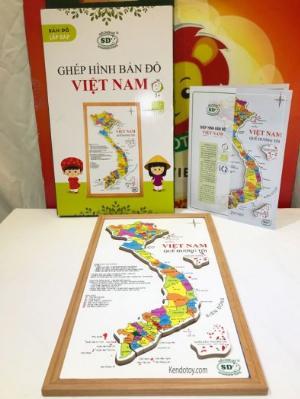 Bản đồ Việt Nam bằng gỗ tranh ghép có hộp và học liệu