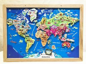 Tranh ghép bản đồ thế giới lắp ráp bằng gỗ | Wooden world map puzzle