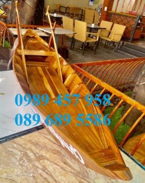 Xuồng gỗ bày hải sản, xuồng gỗ trang trí nhà hàng 2,5m, Xuồng trang trí quán cafe 3m
