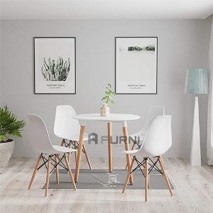 Bộ bàn ghế tiếp khách tròn 80 cm 4 ghế nhựa TE DAW 2-08W/ DSW-S giá rẻ TpHCM