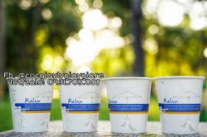 Cốc giấy dùng 1 lần đựng trà sữa, trà chanh,...360ml ( có nắp )